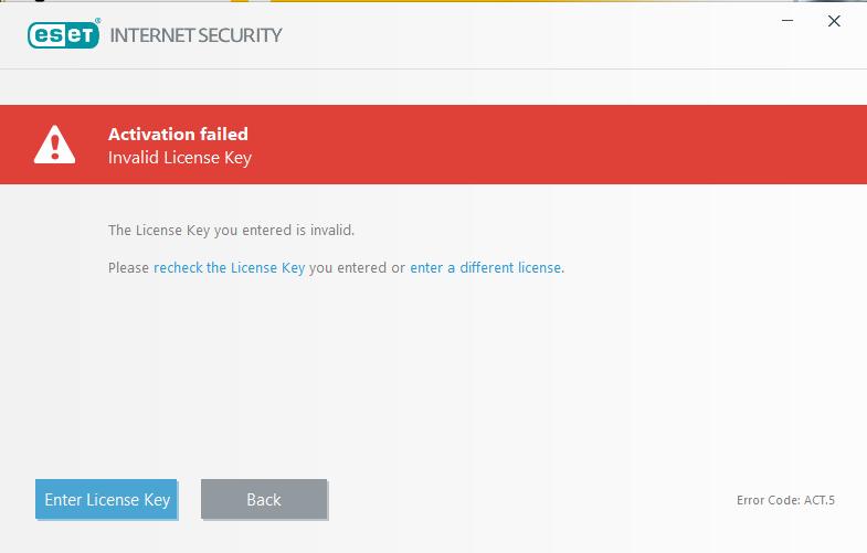 ارور لایسنس اشتباه invalid license key